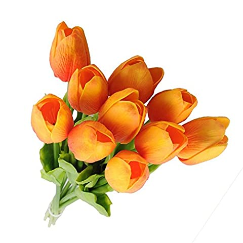 Haplain 10Pcs Artifical Real Touch PU Tulips Flower Bouquet Home Room Party Decor