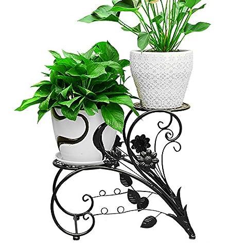 Support en fer pour pot de fleurs/bonsaï Décoration de jardin Noir