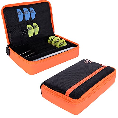One80-Large-D-Box-Dart-Case-with-Zip-Compartments-Black-with-Orange-With-Darts-Corner-Curvy-Ballpen