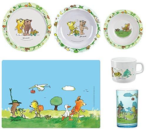 Janosch Küchenset für Kinder, Teller, Suppen-Teller, Müslischale, Platz-Set, Trink-Glas & Trink-Becher (Tasse Und Teller Set)
