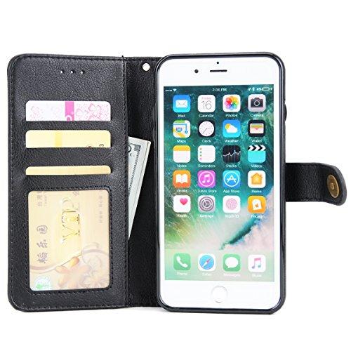 FindaGift iPhone 7 Plus Hülle, Klassisch PU Leder Wallet Case mit Flip Standfunktion und Kartensteckplätze Magnetic Closure Cover Anti-drop Schutzwache Case Mode Stoßfest Cover mit Abnehmbarer Fall un Schwarz