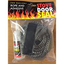 10mm x 2.5m PD Black Rope and 50ml Adhesive / Glue for Woodburner Stove Oven Door Glass