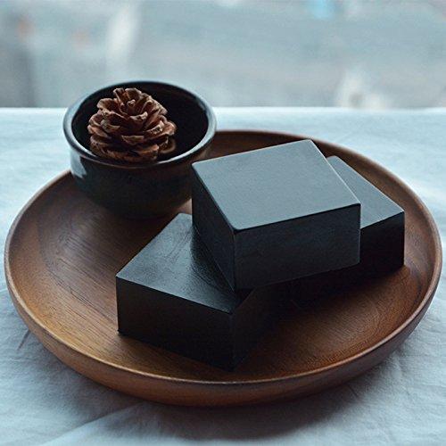 Thinkmax Bambus anthrazit handgefertigte Seife, Facial Tief reinigen oil-control ätherisches Öl Seife–100g Keramik Seifen-pumpe