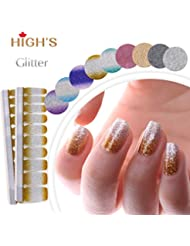 HIGH'S Glitter Series The Cocktail Collection Manucure ongles autocollants ongles Wraps, ?ge d'or