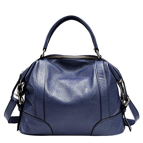 Mena UK Damen Designer Leder Handtaschen und Geldbörsen Reißverschluss Schulter Satchel Handtasche Große Tasche Royal Blue