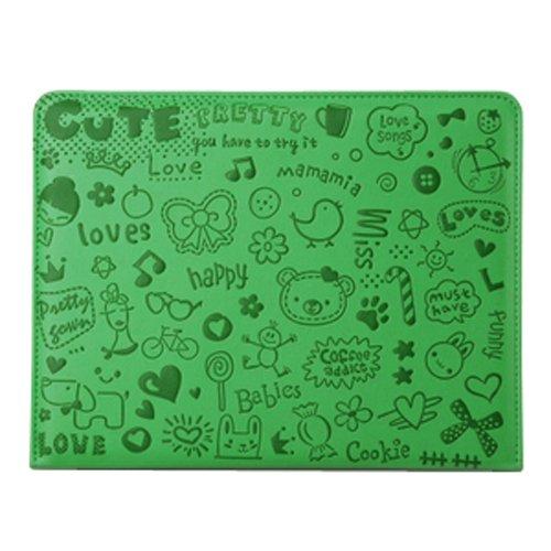 Generic niedliche kleine Hexe Serie Smart Cover Leder Hülle kompatibel mit magnetischem Verschluss für Apple iPad 4 grüne Farbe (Ipad 4 Case Mit Magnetischem Verschluss)