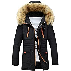 Muium Unisex Women Men Outdoor Coat, Warm Winter Wool Fieece Long Hood Coat Jacket Outwear (S, Black)