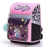Baagl Schulranzen Mädchen 1. Klasse - Ergonomische Schultasche für Kinder - Einhorn Schulrucksack mit Brustgurt - Grundschule Ranzen (Unicorn)