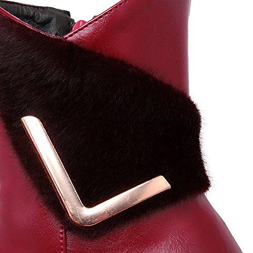 VogueZone009 Donna Scarpe A Punta Bassa Altezza Tacco Medio Chiodato Stivali Chiaretto