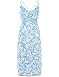 Topshop Ex Cornflower Floral Print Blue Cut Out Summer Slip Dress Size 4-14