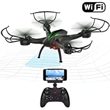 Beebeerun WiFi FPV RC Quadcopter drone con camera Live video 2.4 GHz 6-gyro modalità headless One-Key funzione altitude Hold VR headset-compatible Gravity induzione danno resistenza (black)