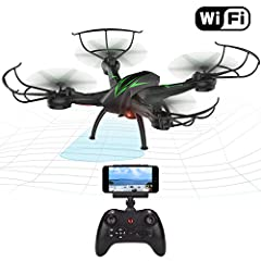 Idea Regalo - Beebeerun WiFi FPV RC Quadcopter drone con camera Live video 2.4 GHz 6-gyro modalità headless One-Key funzione altitude Hold VR headset-compatible Gravity induzione danno resistenza (black)
