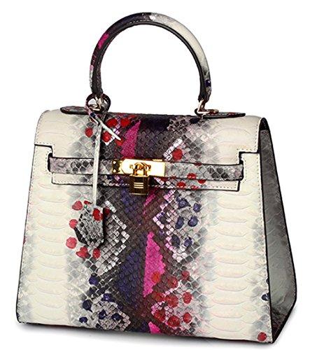 Xinmaoyuan Damen Handtaschen Serpentine Leder Handtasche Mode Schulter diagonal Paket Rindsleder Handtasche Rose rot