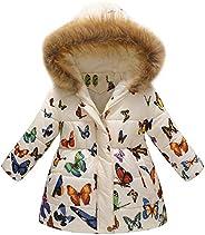 Fossen Niña Ropa Abrigos Niñas Invierno 2-7 años Bebe Mariposa Patrón Chaqueta con Capucha Grueso Caliente Par