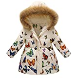 PNING Toddler Baby Girls Boys Herbst und WinterMantel Winterjacke langärmelige Blumenblumen Oberbekleidung Verdickte mit Kapuze Pelzkragen Outerwear Steppjacke warm Winddicht Langarm