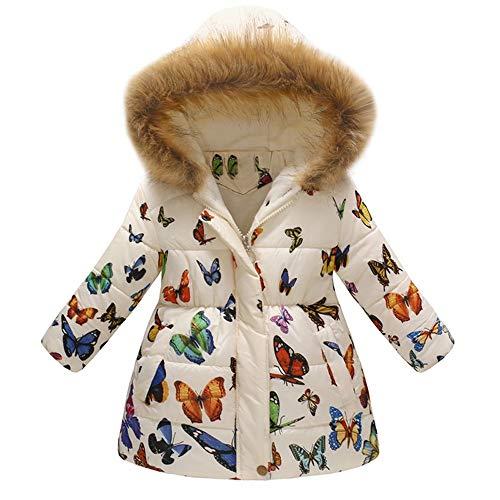 Unisexe Manteau A Capuche Col Fourrure Long Coat Mignon Mode A Fleurs Imprimé Hiver Chaud éPais pour Les Filles Garcons Blouson 3-7 Ans (3-4 Ans(Taille:120CM), Rose)