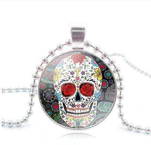 Sugar Skull Anhänger, Sugar Skull Halskette, Tag der Toten Halskette, Antik Bronze Anhänger, handgefertigt Anhänger, Sugar Skull Schmuck 5