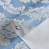 Carta da parati europea in tessuto non tessuto 3D Damasco Camera da letto Soggiorno Studio TV Sfondo Sfondo, Blu zaffiro