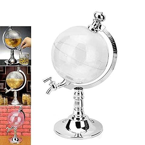 QSSM® 1.5L Liquor Drink Dispenser Globe Shape Beverage Dispenser Bar Beer Machine Tabletop Single Canister Wine Pump In Office kitchen