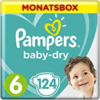 Pampers Baby-Dry Windeln, Gr. 6, 13-18kg, Monatsbox, 1er Pack (1 x 124 Stück)