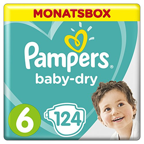 Pampers Baby-Dry Windeln, Gr. 6, 13-18 kg, Monatsbox, 1er Pack (1 x 124 Stück)