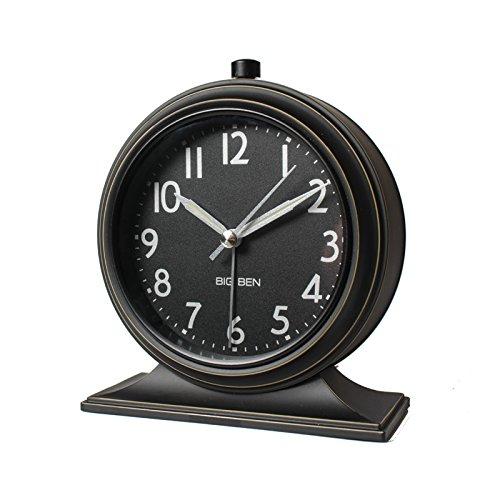 Retro Continental de désactivation de l'alarme réveil de chevet simple horloge avec réveil lumineux chambre mode nostalgique,black
