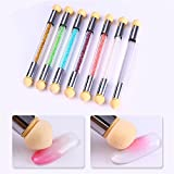 coulorbuttons 1pcs Sponge Head Rhinestone Handle double-ended Gradient Shading Pen Dotting Brush Nail Art Tool