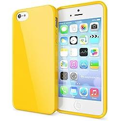 NALIA Coque Silicone Compatible avec iPhone Se 5 5S, Ultra-Fine Housse Protection Smart-Phone Back-Cover Slim Premium Etui Résistant, Mince Telephone Portable Gel Case Bumper Souple - Jaune