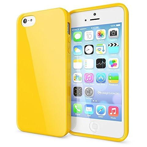 iPhone SE 5 5S Coque Silicone de NICA, Ultra-Fine Housse Protection Cover Slim Premium Etui, Mince Telephone Portable Gel Case Bumper Souple pour Apple iPhone 5 5S SE Smart-Phone - Jaune