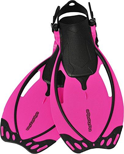 Aquazon Verstellbare Flossen, Schnorchelflossen, Taucherflossen Sydney für Kinder, Jugendliche, Damen,Blau, Pink, Gelb, Junior