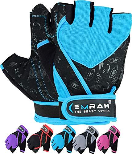 Guantes Emrah de mujer para gimnasio, levantamiento de pesas, entrenamiento y crossfit, con tejido transpirable y protección para la muñeca, color azul oscuro, tamaño Small