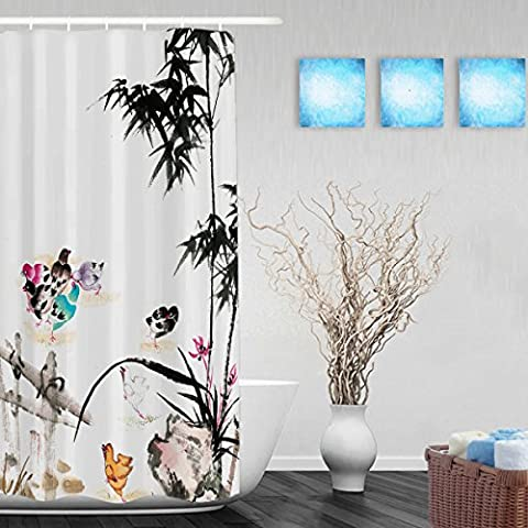 Chinses Style Ink Painting Bathroom Shower Curtains Bamboo And Birds Shower Decor Curtain High Quality Waterproof Mildew Ployster Fabric 36