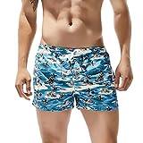 CixNy Herren Badeanzug Tankinis Sommer Badehose Für Männer Trocknen Schnell Strand Surfen Laufen Watershort Schwimmen Swimwear (Blau-D, Medium)