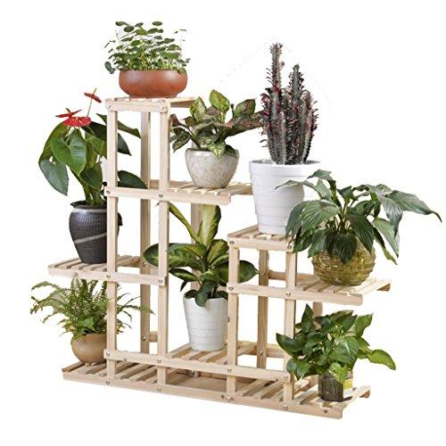 DENGTU KJZ Massivholz-Blumen-Stand-Pflanzen-Stand, mehrschichtiger mehrfacher Farben-Grünpflanze-Wohnzimmer-Schlafzimmer-Balkon, Retro- Art Blumentopf Regal (Farbe : #4) -