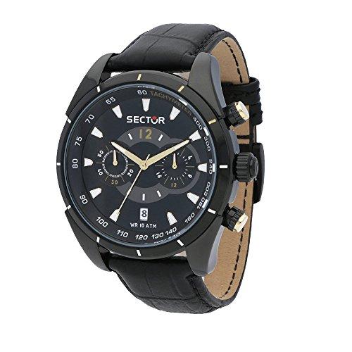 Sector Homme Chronographe Quartz Montre avec Bracelet en Cuir R3271794001