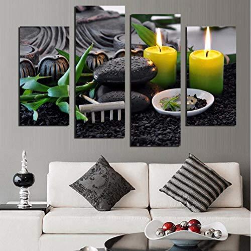 DLRBLHZ Cornice per Decorazioni Natalizie Tela Pittura Poster per Soggiorno 4 Pannelli Candela Nero Cobblestone Wall Art Home Modern HD Immagini Stampat