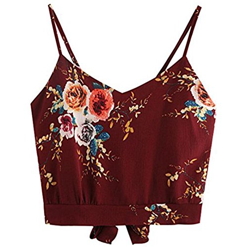 TUDUZ T-Shirt Damen Sommer Damen V-Ausschnitt Blumendruck Crop Top Leibchen Bluse (Weinrot, S)