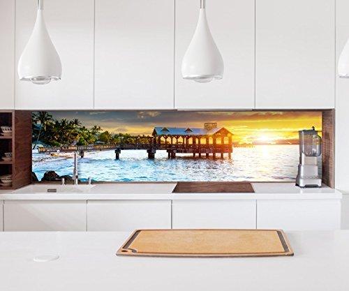 Aufkleber Küchenrückwand Sonnenuntergang am Meer Paradies Folie selbstklebend Deko Fliesen Möbelfolie Spritzschutz 22A1010, Höhe x Länge:80cm x 300cm