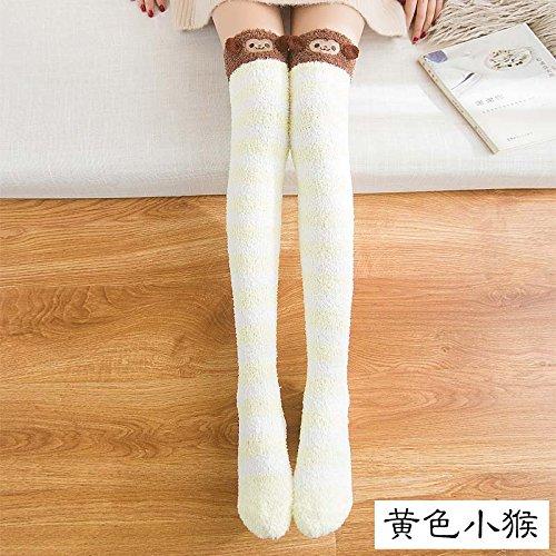 Das Coral Fleece Socken Girls Winter Dicke Plüsch Schlafsack koreanischen Lange-Barrel Socken, Kniestrümpfe zu hoch Barrel Socken Waren Schlaf Socken, alle Codes, die kleinen gelben Affen