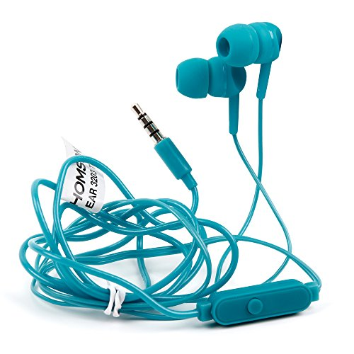 Premium Quality In-Ear Earphones in Blue With Microphone for the Bush Handheld Portable DAB Radio - by DURAGADGET