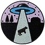 Parche termoadhesivo para la ropa, diseño de Entra Extraterrestre amor Vaca