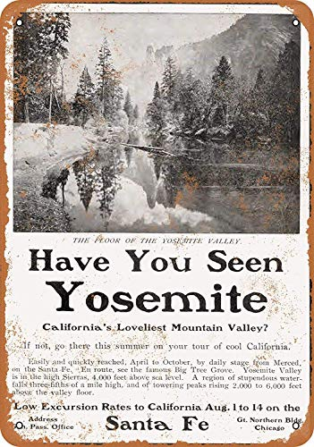 MNUT 1903 Santa Fe Railroad to Yosemite Valley, Cartello in Metallo con Scritta in Lingua Inglese 'Santa Fe Railroad to Yosemite Valley', 20,3 x 30,5 cm