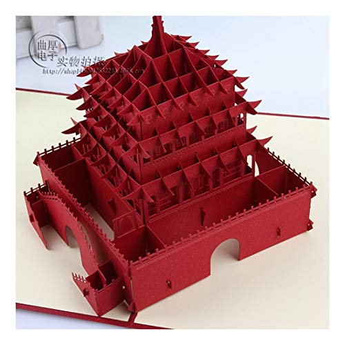 ZHOUBIN 2 fogli/set Carving and Hollowing Out 3D Cards/Greeting Cards/Regali di Natale/Blessing di compleanno/Oriental Bell Tower, Red 17 * 18Cm