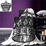 Dodom Queen Throw Blanket Antique Royal Crown Kingdom Emperor Ruler Czar Symbol Monarchy Authority Icon Warm Microfiber-125cm*200cm