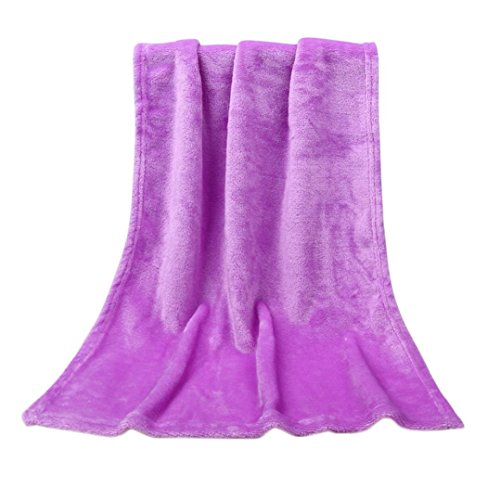 Y56 50X70 CM baby Mode Flanell Solide Weiche Werfen Kinder Decke Warme Korallen Plaid Decken Flanell (Purple) - Werfen Decke ärmel