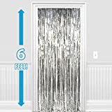 PARTY PROPZ ™ Set Of 2 Metallic Silver Foil Curtain Fringe Party Decoration Door Curtains, 3 X 6 Feet