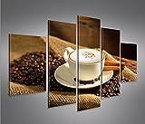 islandburner Bild Bilder auf Leinwand Cappuccino Kaffee Kaffebohnen Gemütlich MF XXL Poster Leinwandbild Wandbild Dekoartikel Wohnzimmer Marke