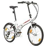 Bikesport FOLDING Bicicletta Pieghevole 20' (Bianco lucido rosso)