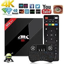 Aoxun Android 7.1 TV Box [ H96 Pro+ Plus 64 Bits 3GB+32GB mit einem Wireless Keyboard ] WiFi Smart Set-Top-Boxen Bluetooth 4.0 und True 4K Playing