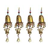 #7: Door Hanging Golden Painted Bell With Jhalar Golden Ganesha With Metal Bell Set of 4 By Handicrafts Paradise